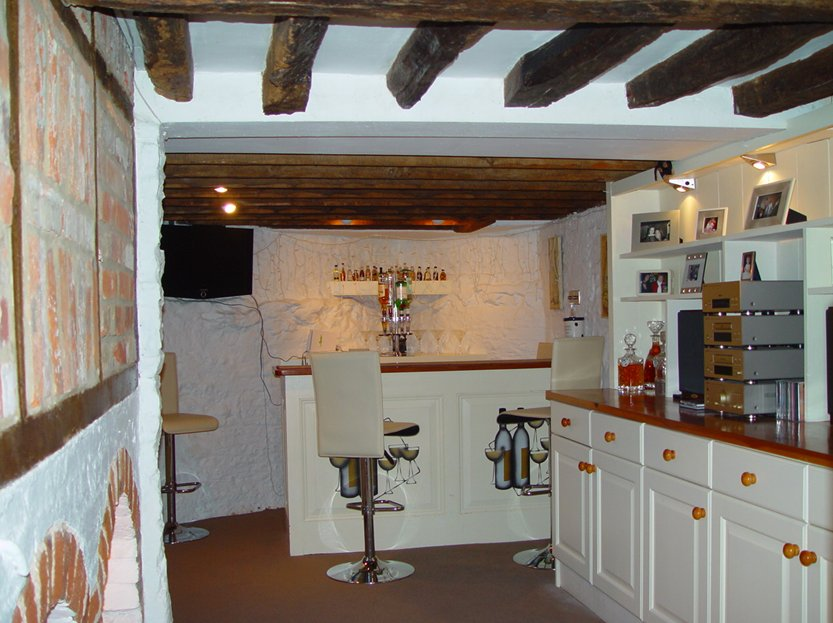 Dragon Lodge bar in the converted cellar with SKY TV